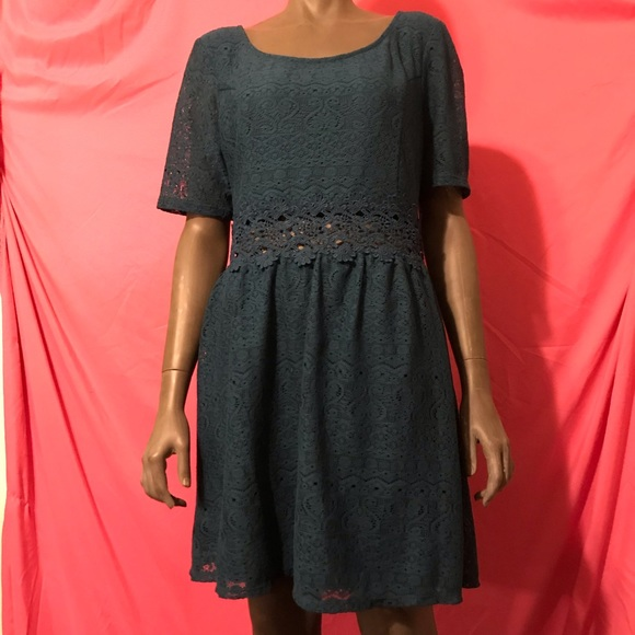 Xhilaration Dresses & Skirts - Teal lace fit and flare open midriff size XL